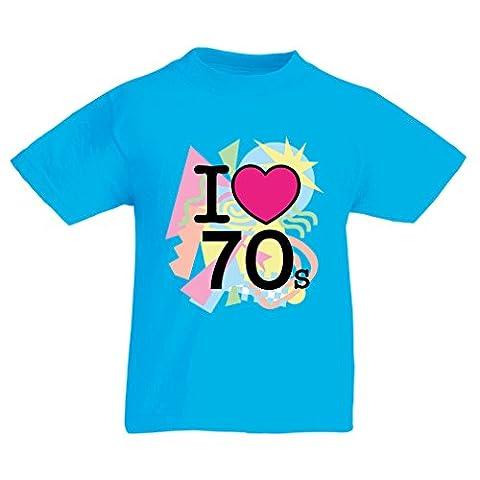 T-shirt pour enfants I love 70's - vintage style clothing (5-6 years Bleu clair Multicolore)