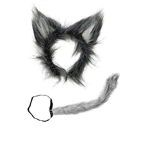 Wolfsset aus Plüsch zweiteilig ( Wolfschwanz und Wolfsohren )