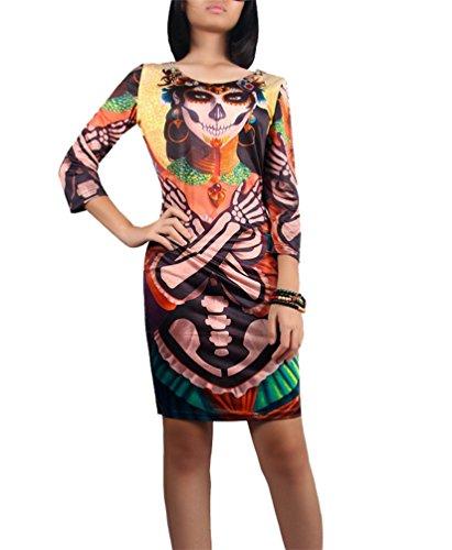 NiSeng Donna Vestito Da Halloween Zucca Pipistrello Vampiro Maniche Lunghe Vestito Da Partito Mini Abito 8#