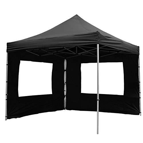 Nexos SM936147_SL Profi Faltpavillon Partyzelt Pavillon 3x3 m mit 4 Seitenteilen - hochwertige Ausführung - wasserdichtes Dach 270 g/m² + Tragetasche - Farbe: schwarz,