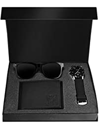 LORENZ Combo Of Black Men's Wallet ,Sunglasses & Watch