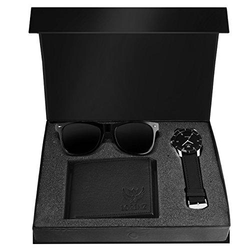 Lorenz Combo of Black watch, Wallet and Wayfarer Sunglasses for Men- CM-109SN-WL-BLK