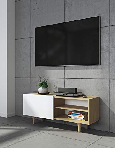 TemaHome Tisch Cruz TV Table, chêne placage, Blanc Mat, 120 x 34 x 50 cm