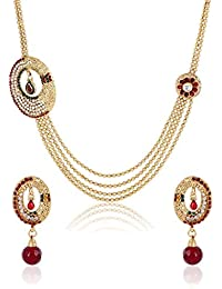 Party Wear Gold Plated 4-Strings Long Necklace Set For Women By Shining Diva