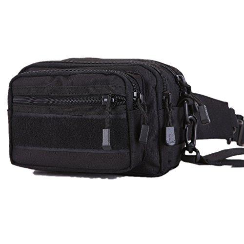 Lawevan 600D Nylon unisex Camping Wandern Hüfttasche Reiten Radfahren Taille Packs Schultertaschen Handtaschen Schwarz