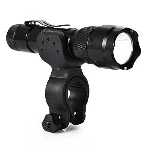 Canwelum - Faros LED Cree Ultra-brillante, luces para bicicletas recargable, luces de bicicleta de montaña (Un conjunto completo de linterna LED, pila litio 18650, cargador Euro y abrazadera del manillar bici)