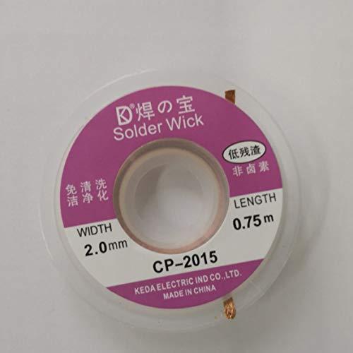CP-2015 2.0MM Solder Wick Remover Dissaldante filo intrecciato cavo Sucker Saldatore Remover Wick Accessorio 0.75m-Golden