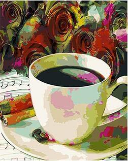 Benutzerdefinierte Kaffee Malen nach Zahlen Wanddekoration Leinwand Pinsel Malen Malen nach Zahlen Acryl Handwerk (40*50cm/16*20inch) ()