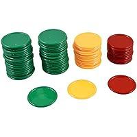 SODIAL(R) 69 Pcs De Mini fichas de poquer Rojo Amarillo Verde Ronda afortunado Accesorios de juego