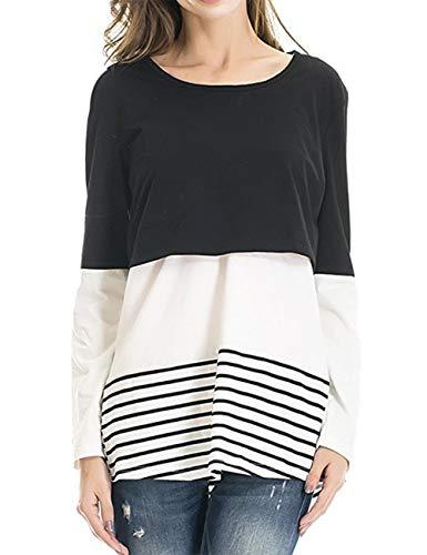 besbomig Damen Umstandsmoden Schwangerschaft Kleidung Back Lace Striped Stillzeit Top - Lange Ärmel Zweilagiges Design Maternity ()