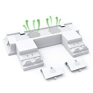 GameSir Xbox One S Vertikaler Standlüfter Dual Controller-Ladestation mit 2X 600mAh-Akku (funktioniert nur für die Xbox One S-Konsole)