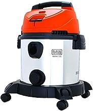 BLACK+DECKER Wet & Dry Drum Vacuum Cleaner, 1400 W, 20 L, Stainless Steel Drum, 5m Cable, Orange/Silver -