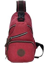 Odomolor Mujeres Moda Bolsos Cruzados Lona Satchel-Style Bolsas de Hombro,ROPBL181141
