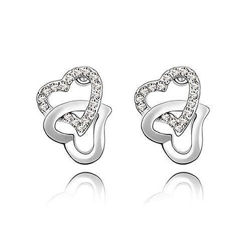 Swarovski Elements Women verflochtene Herzen Ohrringe - Crystal - Weiß