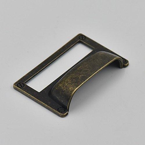 51020PCS Home Schrank Rahmen Griff Schublade Label Tag Pull Datei Name Karte Halter Schraube B SizeD Bronze bronze (Schublade-datei Frame)