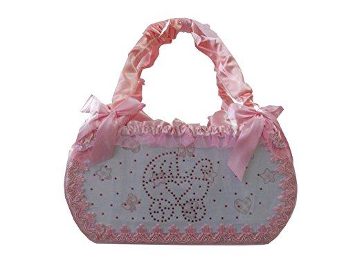 Cesto nascita borsa porta prodotti rivestito medio in rosa