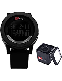 TTLIFE TS03 unisexo reloj negro hombre relojes de pulsera de moda dial grande deporte relojes Silicona Reloj Correa LED Digital Reloj resistente al agua