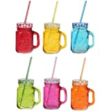 Click Point Shaded Two Colour Mason Jars With Handle And Multicolour Lid (500ml) With Handle And Colored Check Pattern Tight Cap With Hole And High Quality Re-Usable Straw Set Of 1