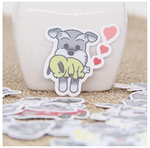 YLGG 40 stücke Cartoon Ziemlich Niedlich Schnauzer Hund Aufkleber Tagebuch Aufkleber Sammelalbum Dekoration PVC Schreibwaren Aufkleber Gelegentlich Nicht Wiederholen -