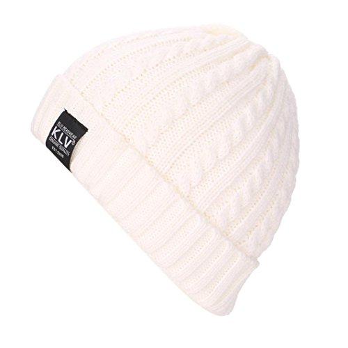 Cappello unisex, KLV Cappellini lana regolabili per adulti lavorato a maglia, Cuffia da sci,Hip Hop, cappellini da sole (Bianco)