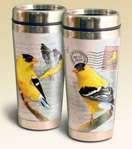 Vintage Bird Series 16oz Steel Travel Mug (Goldfinch Postcard) by American Expedition