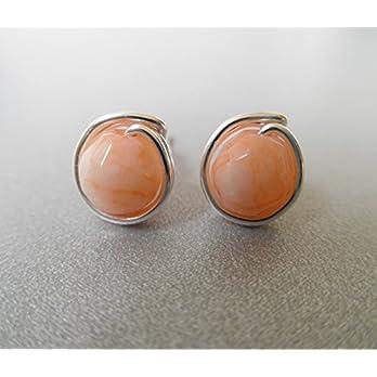 Ohrstecker aus dem Edelstein Jade Apricot – versilbert