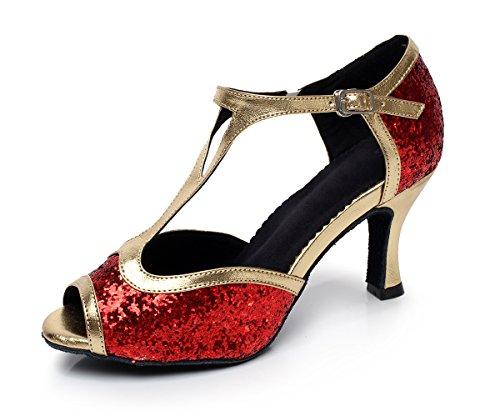 Minitoo da donna stile qj6205Flare Glitter tacco alto Salsa Latin Dance scarpe Red