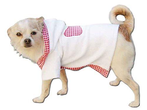 Ikumaal Bademantel in weiß-rosa mit Kaputze Jacke Hund Bekleidung für Hunde Hundebekleidung Hundemantel günstig M52 Gr. L