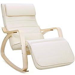 SONGMICS Fauteuil à bascule, Chaise berçante, avec Repose-pieds réglable à 5 Niveaux, avec Oreiller, Housse en coton, Capacité de charge 150 kg, Beige LYY10M