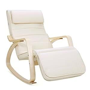 SONGMICS Fauteuil à Bascule Rocking Chair avec Repose-Pieds réglable à 5 Niveaux Design Charge Maximum 150 kg Beige LYY10M