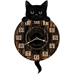 RELOJ DE PARED CON PENDULO DISENO LUCKY CAT GATO NEGRO - Tinas Collection