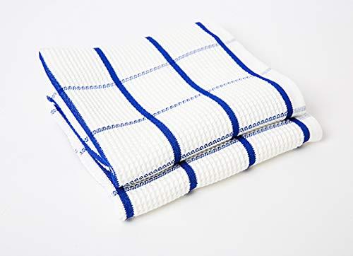 Microfasertuch blau weiss mit Waffelstruktur, 67x42 cm, 2er Set, für Geschirr und Gläser, Profi-Bedarf