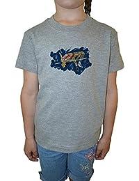 Alto Saltar Atleta Niña Niños Camiseta Cuello Redondo Gris Algodón Manga Corta Girls Kids T-shirt Grey