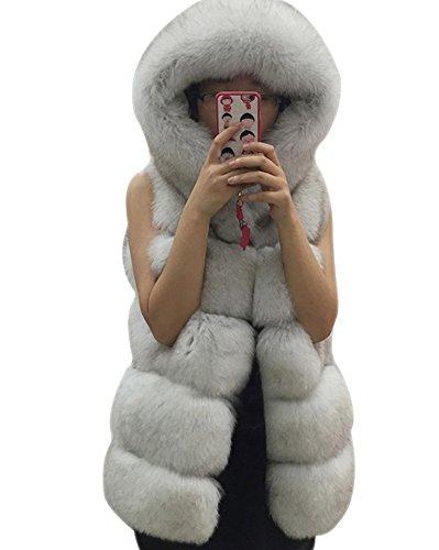Laozan gilet di pelliccia ecologica senza maniche con cappello caldo e elegante - volpe - large