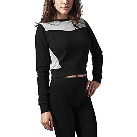 Urban Classics Ladies Cropped Mesh Terry Crew, Felpa Donna