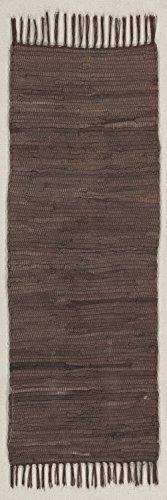 (onloom Läufer Fleckerlteppich Abano, aus 100% Baumwolle, strapazierfähig und Robust, bis 30 C° Waschbar Handwäsche, Farbe:Braun, Größe:60 x 200 cm)