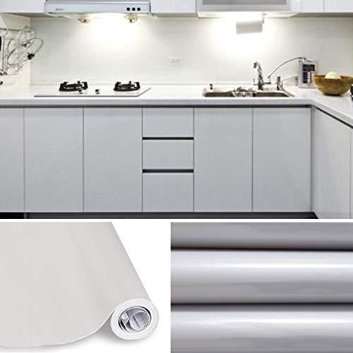 KINLO Tapeten Küche grau 61x500cm aus hochwertigem PVC Klebefolie Aufkleber Küchenschränke wasserfest Aufkleber für Schrank selbstklebende Folie Küchenfolie Dekofolie MIT GLIETZER
