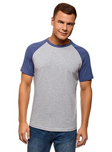 Oodji Ultra Hombre Camiseta Algodón Mangas Raglán