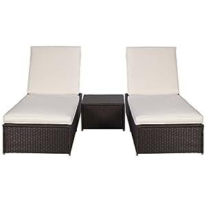 polyrattan gartenliege sonnenliege relaxliege liegestuhl kissen lounge doppelliege. Black Bedroom Furniture Sets. Home Design Ideas