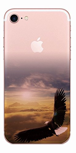 MPPK-Hamburg ® Apple iPhone ® 7 - 4,7 Zoll Schutz Hülle - Case in wunderschönem Design – Stabiles / transparentes PC - Pacific Surfing Wave Adler im Sonnenuntergang