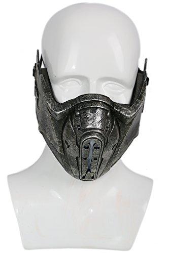 Xcoser Zero Maske Cosplay Kostüm Grau Harz Maske LED Half Helm Erwachsene Kleidung Replik für Halloween Verrückte Kleid Zubehör (Halloween-kostüme-mortal Kombat)
