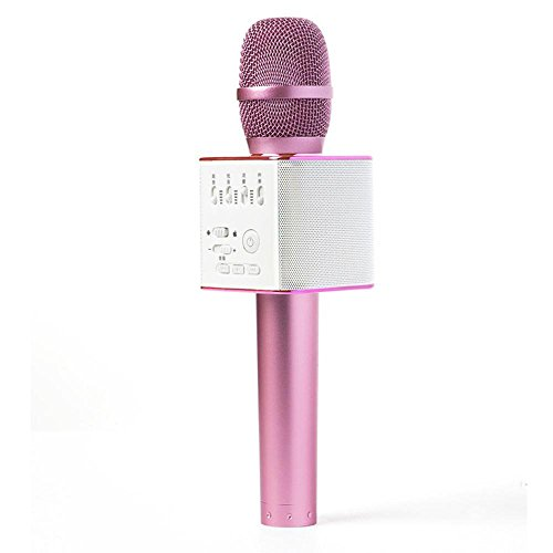 Keine Marke tragbar Mic 3 in 1 Bluetooth Magic Karaoke Maschine Mikrofone Wireless Tragbarer Lautsprecher Q9 Für Apple iPhone Android Smartphone PC Musik Playing Singing Home Hotels (Rosa)