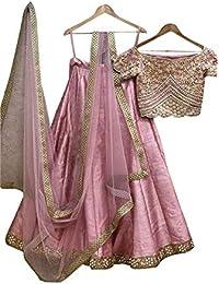 Swara Fashion Women's Phantom Silk With Blouse Piece Lehenga Choli(SFA-2091_Pink_Multi Work)