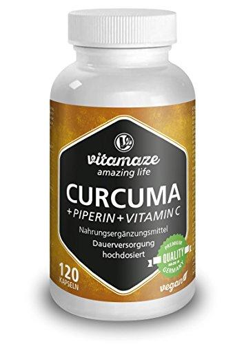 Curcuma Kapseln + Piperin Curcumin hochdosiert + Vitamin C, 120 vegane Kapseln für 6 Wochen, Qualitätsprodukt-Made-in-Germany ohne Magnesiumstearat, jetzt zum Aktionspreis und 200 % Rücknahme-Garantie