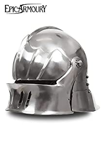 Schaller Casco de acero Deko Casco schaukampftauglich Ritter Casco LARP Vikingo Varios Modelos, color Polierter Stahl, tamaño medium