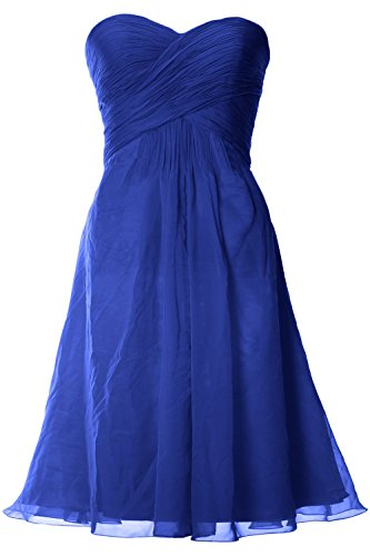 MACloth Women Strapless Short Bridemaid Dress Wedding Cocktail Party Gown Royal Blue