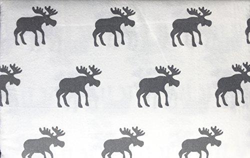 Land Twin-size-bett (Nordic North Baumwolle 3Stück Twin Size Türkisch Flanell-Bettlaken-Set Luxe Elch Grau auf Weiß)