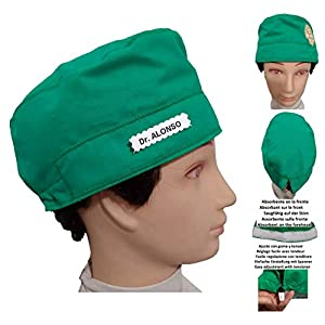 Chirurgische Kappe. Grün für kurze haare. Krankenschwester, Tierarzt, Zahnarzt, Chirurg, Koch. Mit Ihrem Namen kostenlos personalisiert. In Optionen
