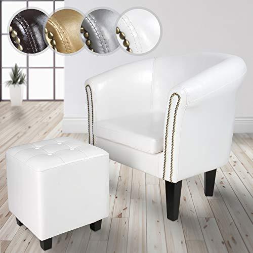 Miadomodo-csel02weiß-1set-poltrona con poggiapiedi chesterfield-bianco-diversi colori a scelta