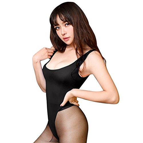 YiZYiF Damen Body Achselhemd Unterhemd Öffener Schritt Lingerie Einteiler Reizwäsche - Einheitsgröße Schwarz Einheitsgröße (Brust 62-92cm)